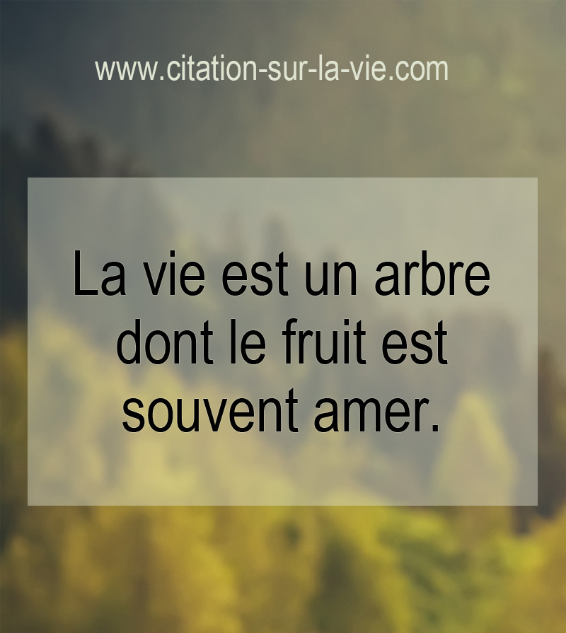 citation sur la vie arbre fruits amere